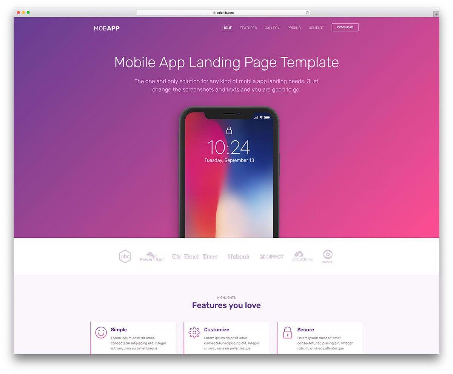 009 Unforgettable Csvape Esponsive Mobile App Landing Page Html Template Free Download Design  Csvape-responsive-mobile-app-landing-page-html-template1920