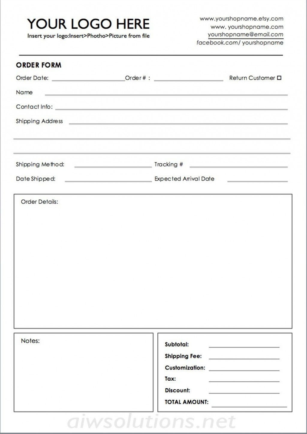 009 Unforgettable Custom Order Form Template Sample  Cake Clothing WorkLarge