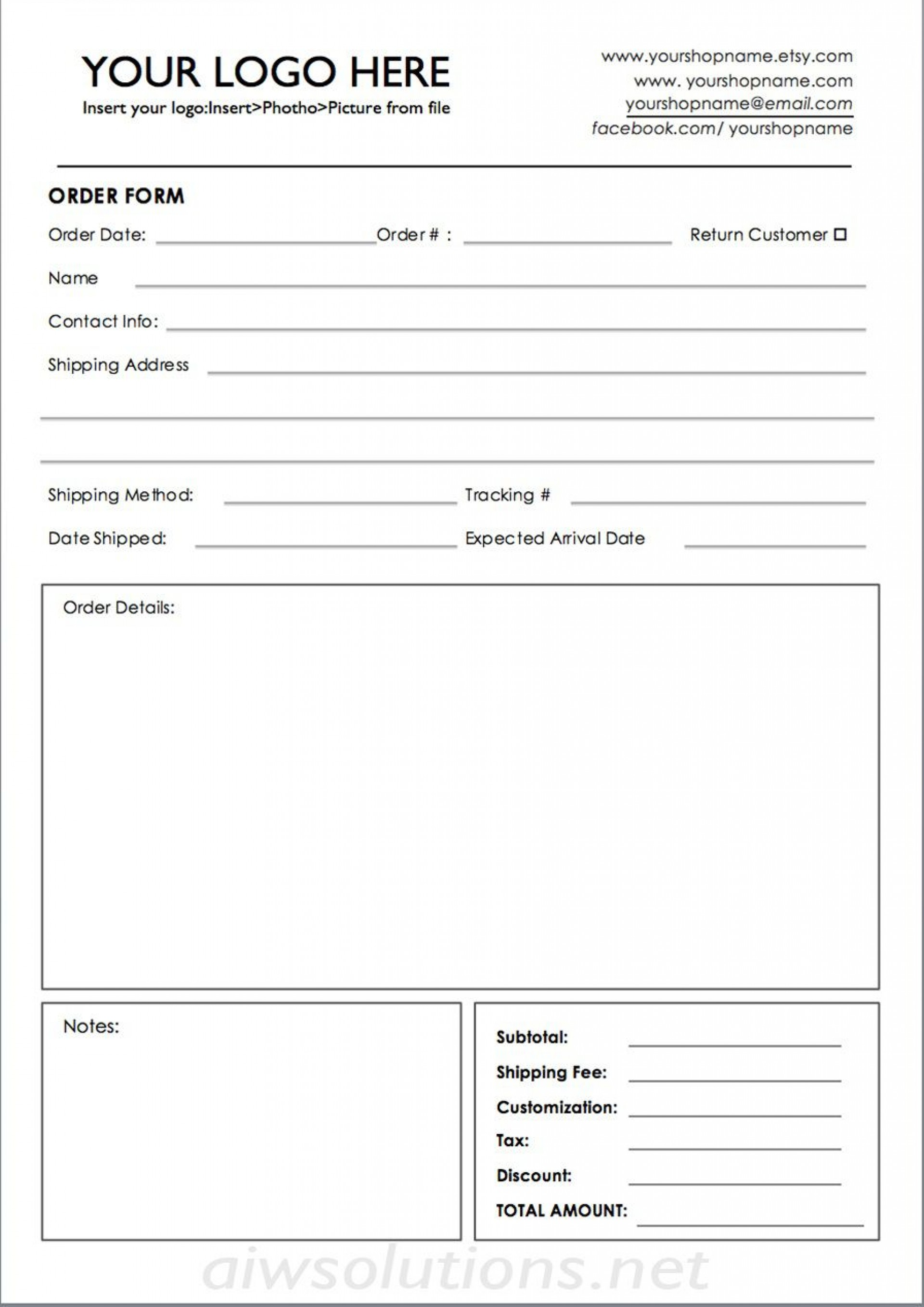 009 Unforgettable Custom Order Form Template Sample  Cake Clothing Work1920