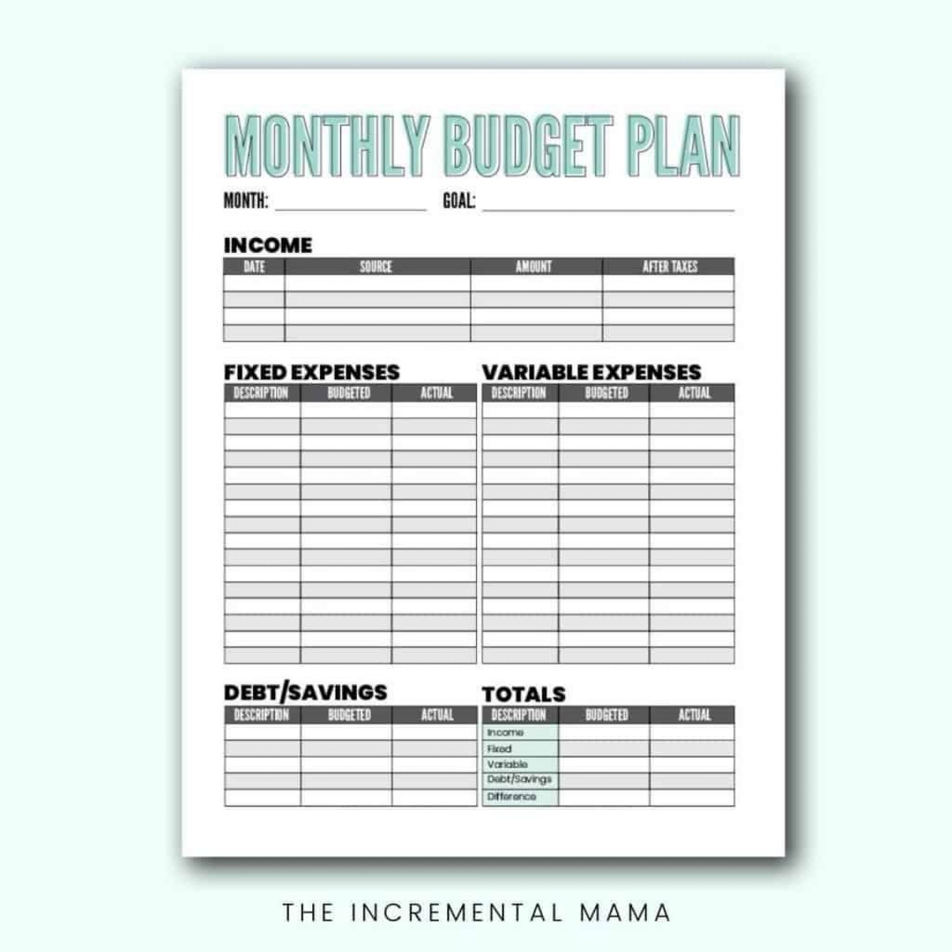 009 Unforgettable Free Monthly Budget Template Pdf Photo  Fillable Household Worksheet1920