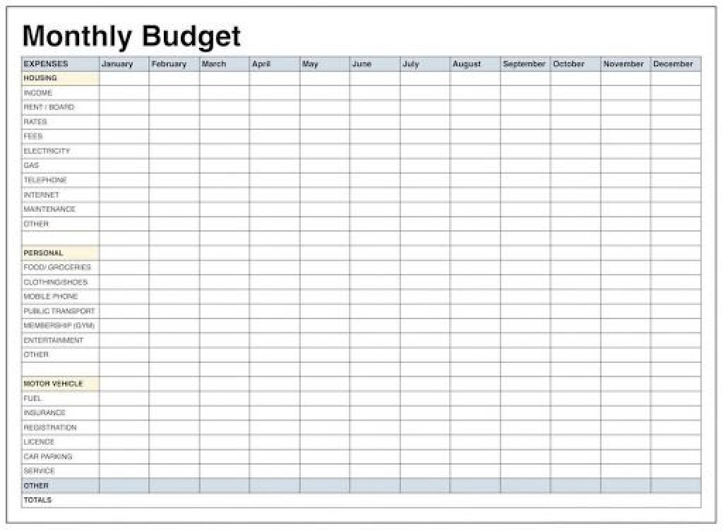 009 Unforgettable Free Simple Home Budget Template Picture Large