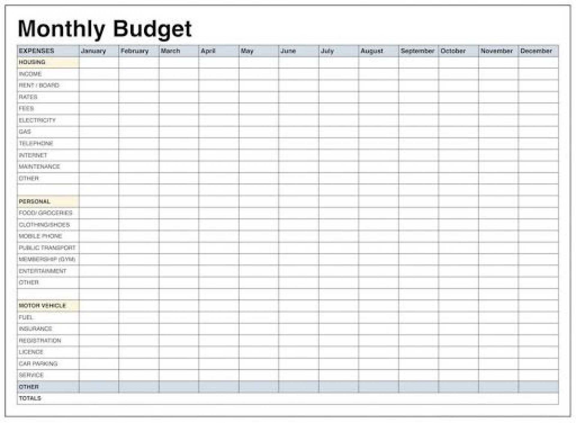 009 Unforgettable Free Simple Home Budget Template Picture 1920