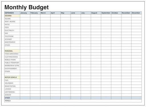 009 Unforgettable Free Simple Home Budget Template Picture Full