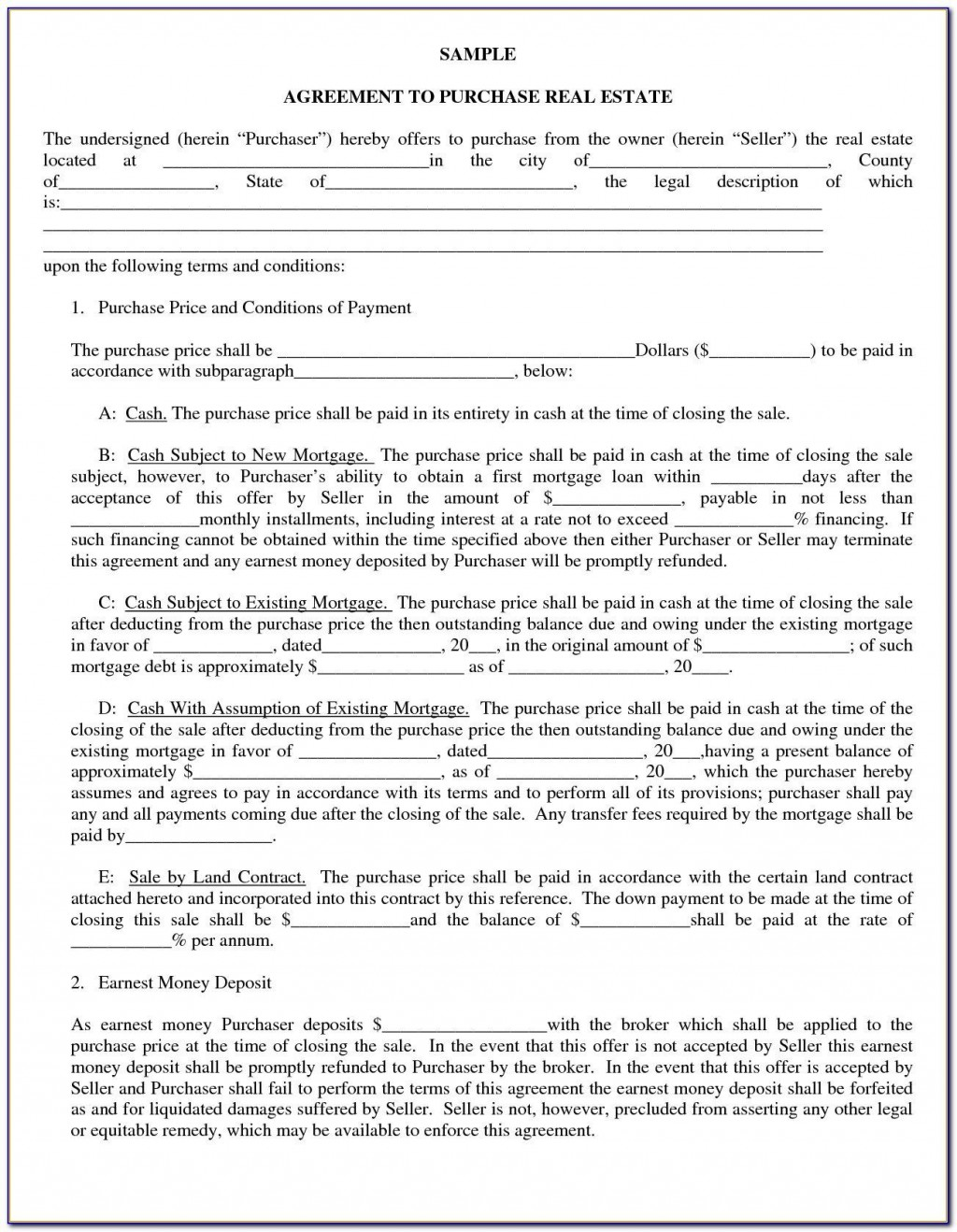 009 Unforgettable Home Purchase Agreement Template Michigan Example Large