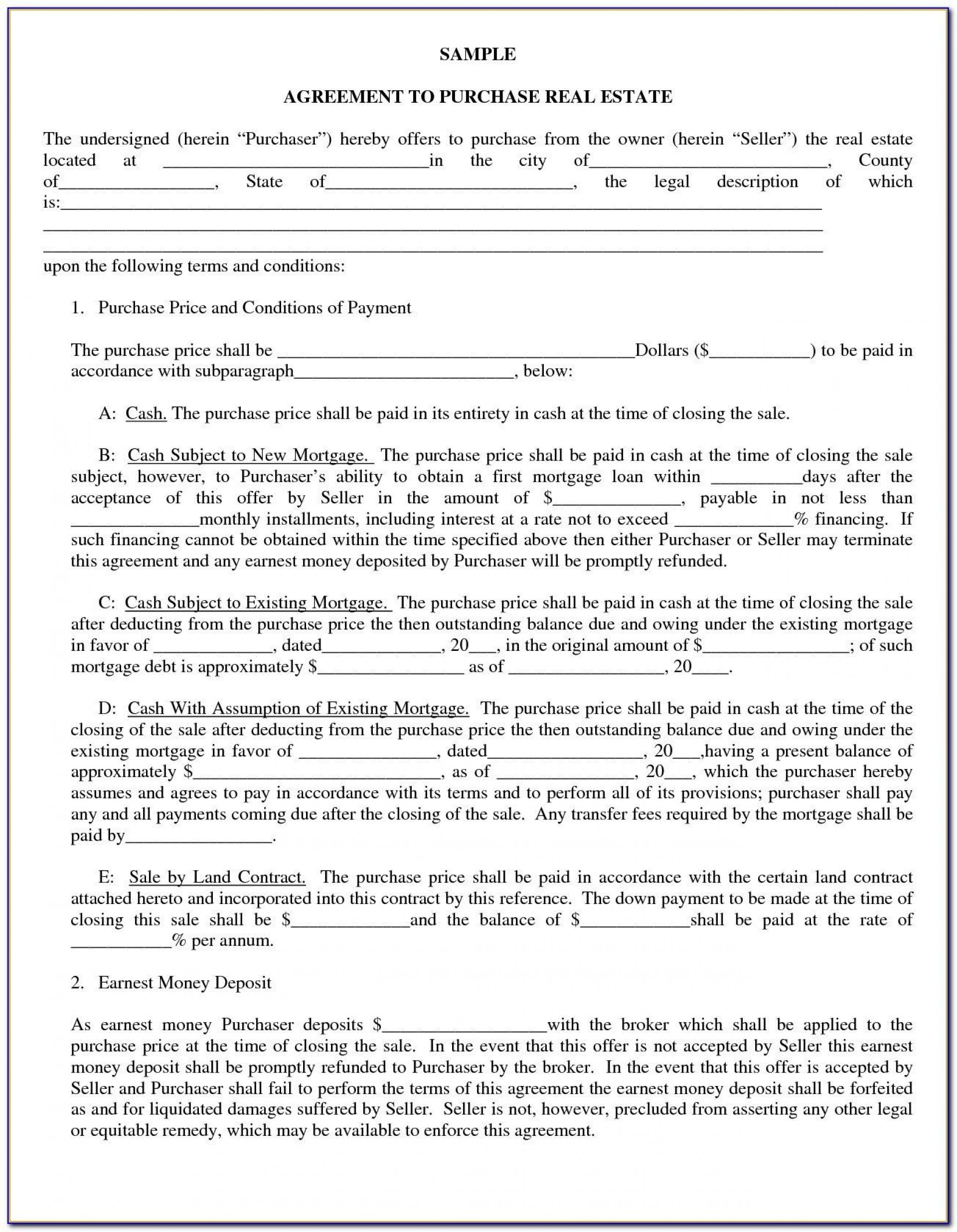 009 Unforgettable Home Purchase Agreement Template Michigan Example 1920