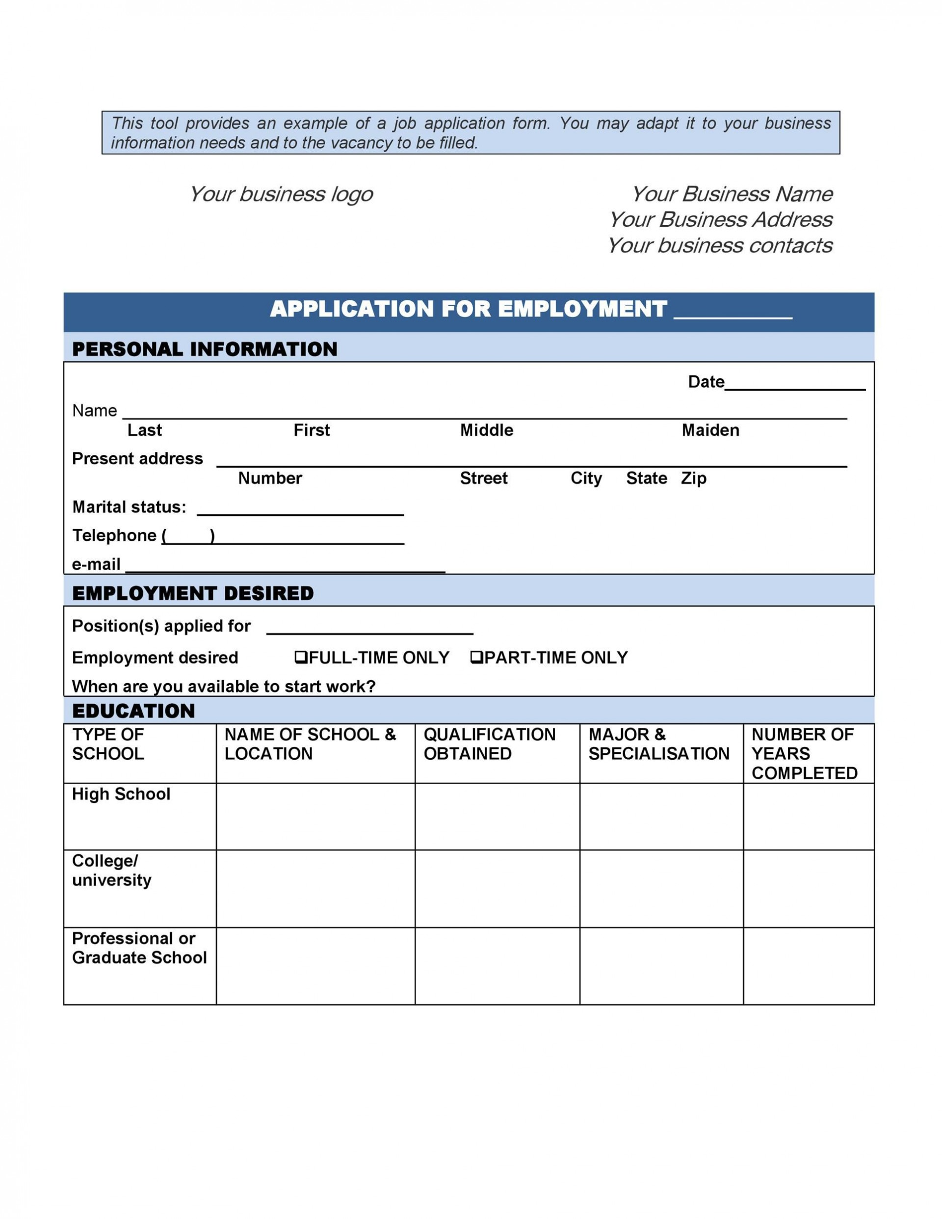 009 Unforgettable Job Application Template Microsoft Word High Def  Fillable Form College1920