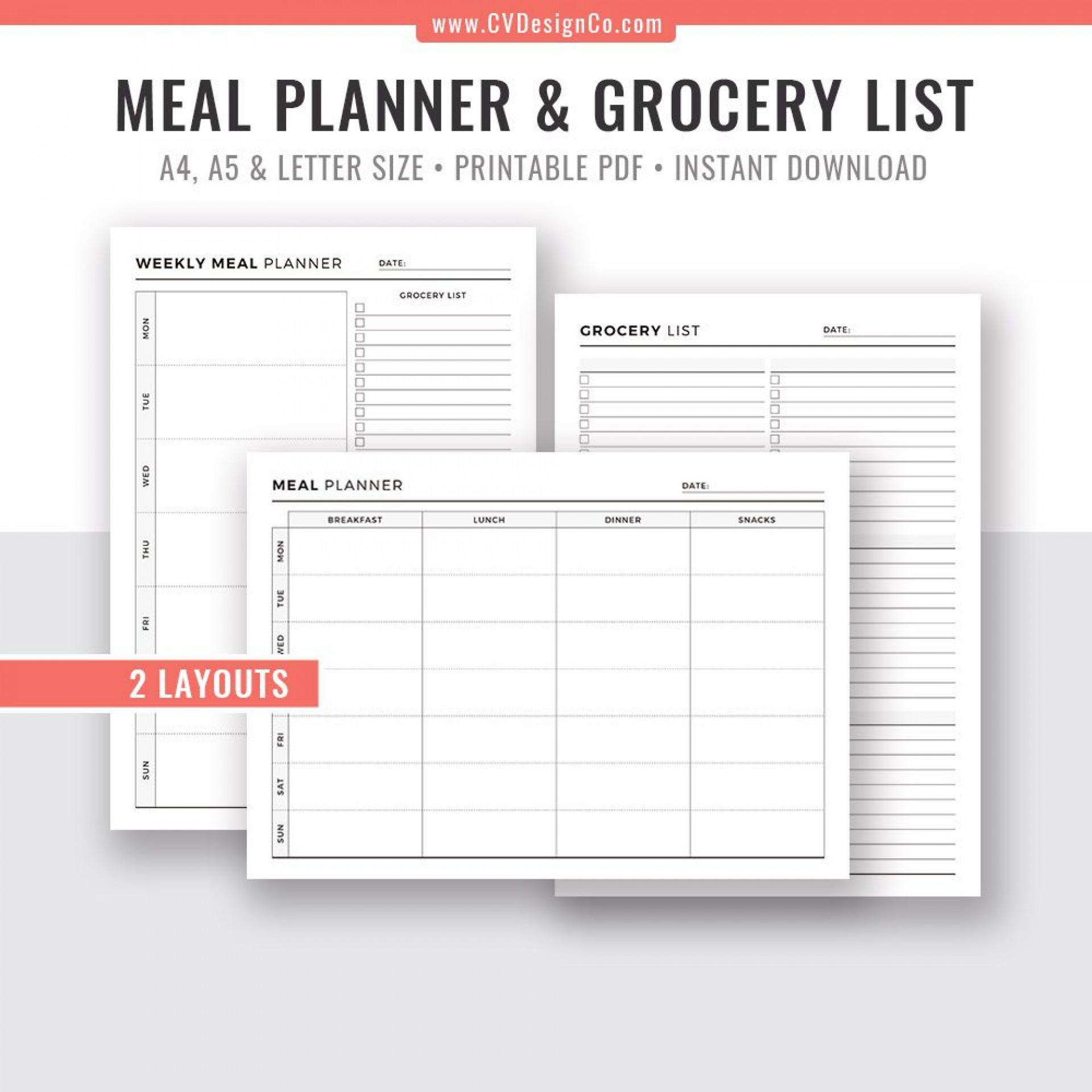 009 Unforgettable Meal Plan With Printable Grocery List Idea  Planning Template Excel Free1920