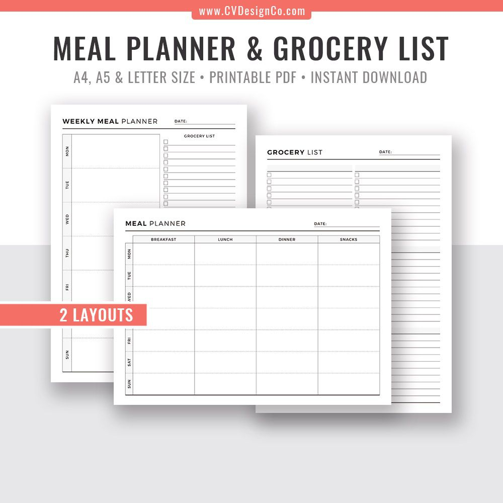 009 Unforgettable Meal Plan With Printable Grocery List Idea  Planning Template Excel FreeFull