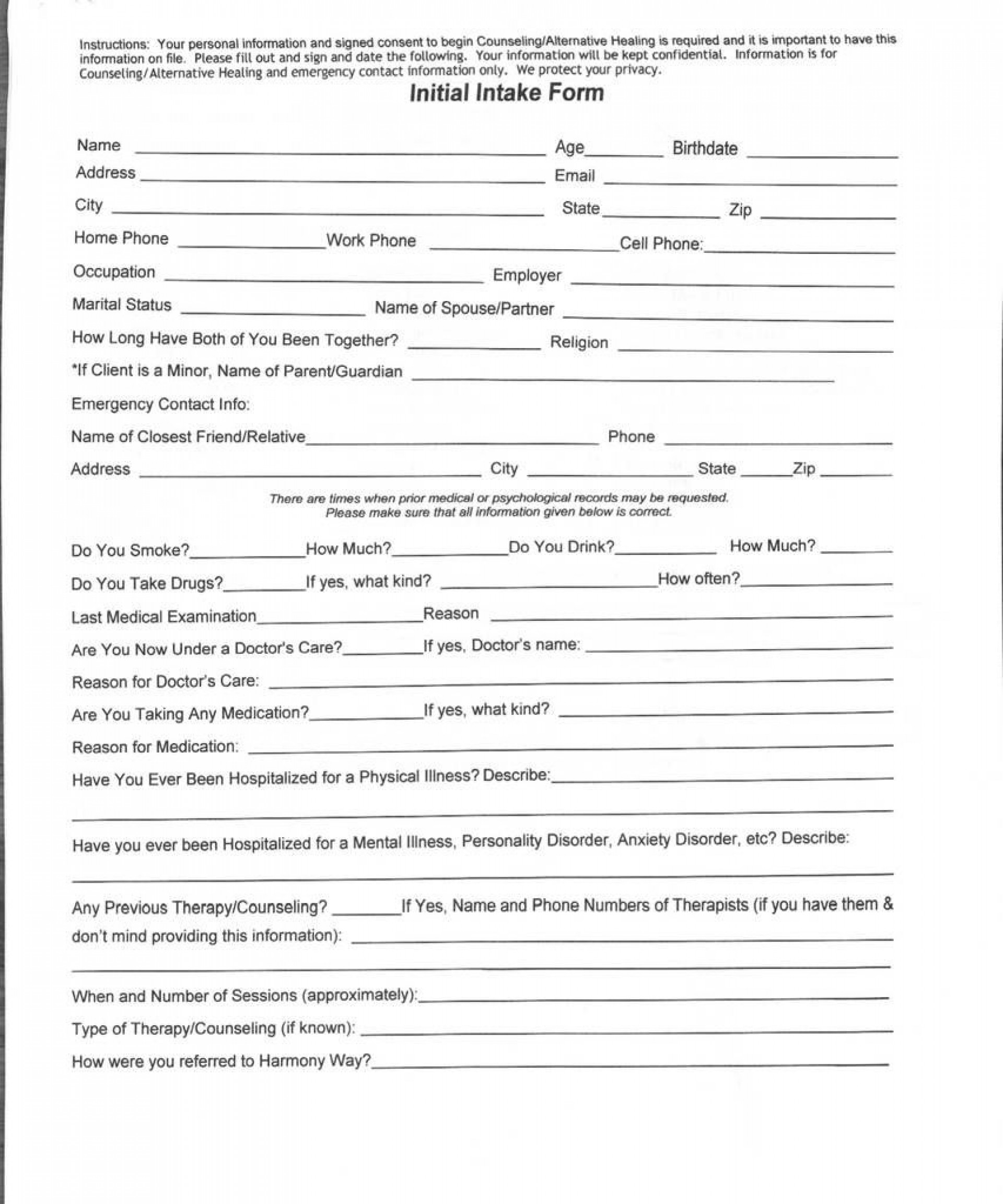 009 Unforgettable Medical History Form Template For Personal Training Highest Quality 1920
