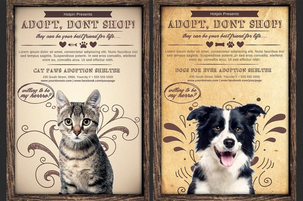 009 Unforgettable Pet Adoption Flyer Template High Resolution  Free Event DogLarge