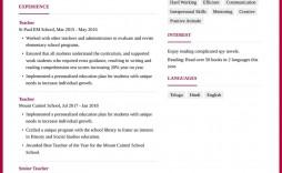 009 Unforgettable Resume Example For Teacher Job Image  Sample Cv School