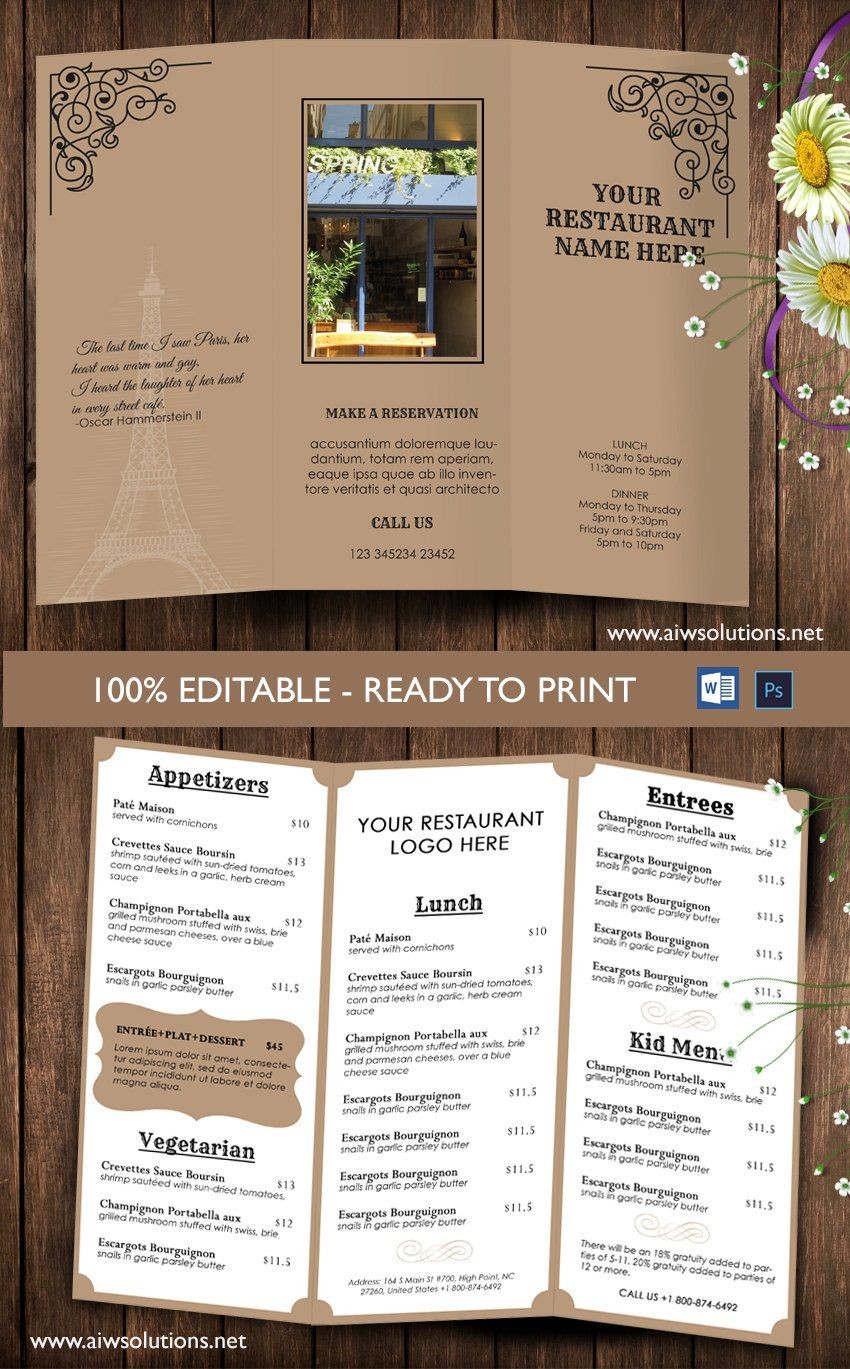 009 Unforgettable Take Out Menu Template High Definition  Tri Fold Free Word Restaurant AwayFull