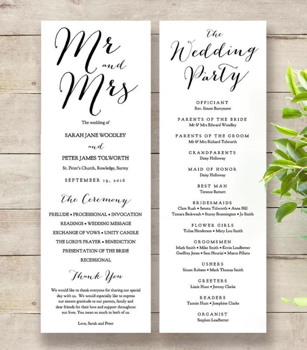 009 Unforgettable Wedding Order Of Service Template Word Sample  Free MicrosoftLarge