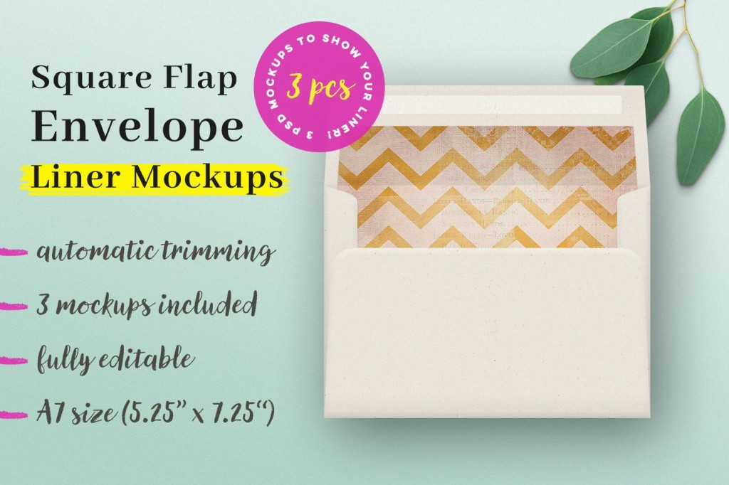 009 Unique A7 Envelope Liner Template Square Flap High Resolution Large