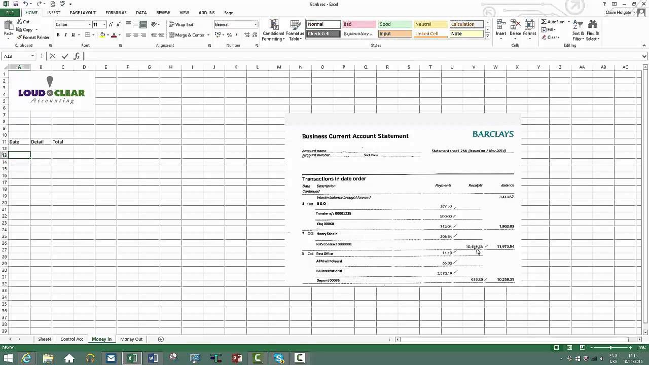 009 Unique Bank Reconciliation Statement Format Excel Sheet Design  DownloadFull