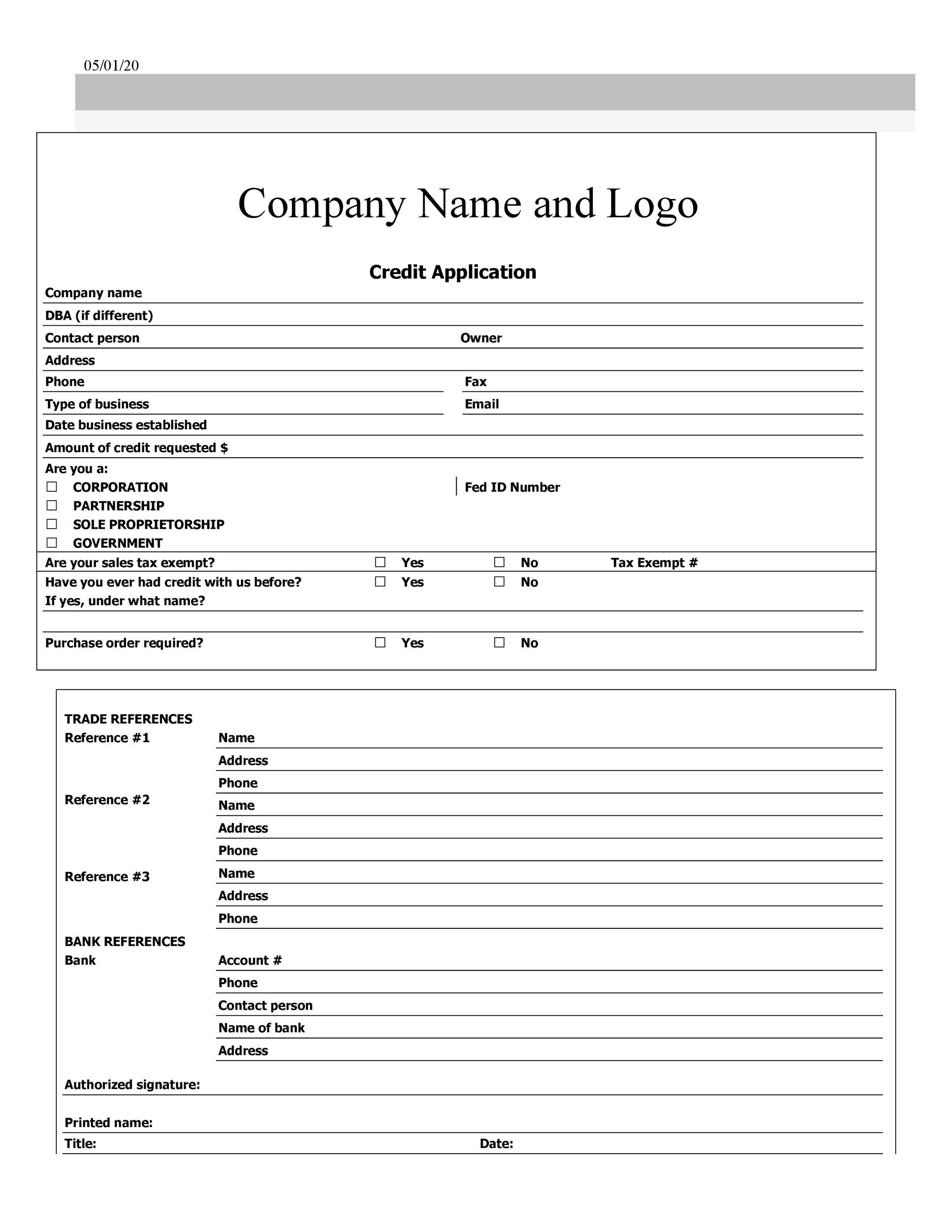 009 Unique Busines Credit Application Form Free Photo  TemplateFull