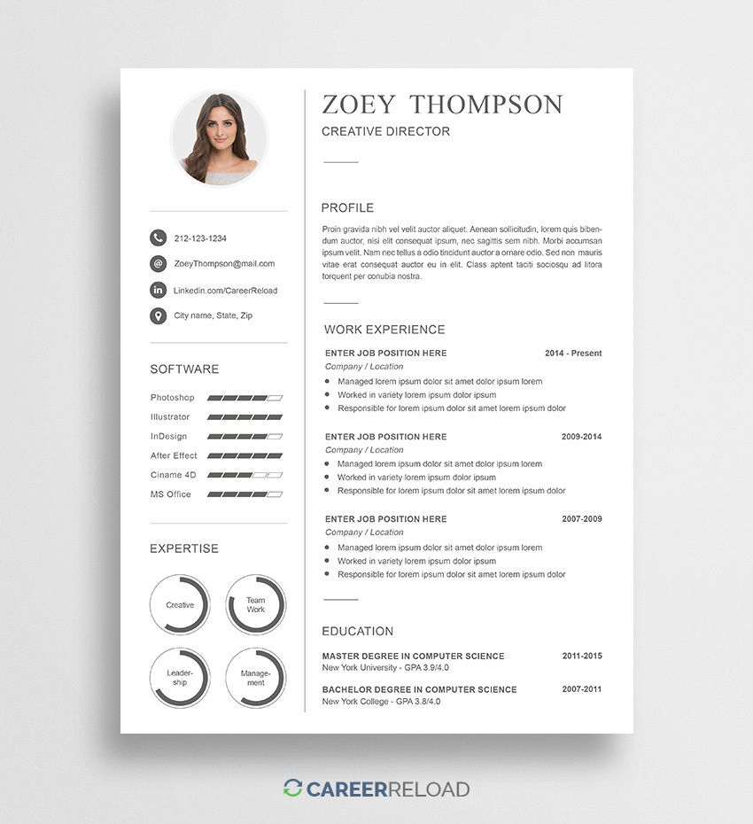 009 Unique Download Free Resume Template High Resolution  Word Professional 2019 2020Full
