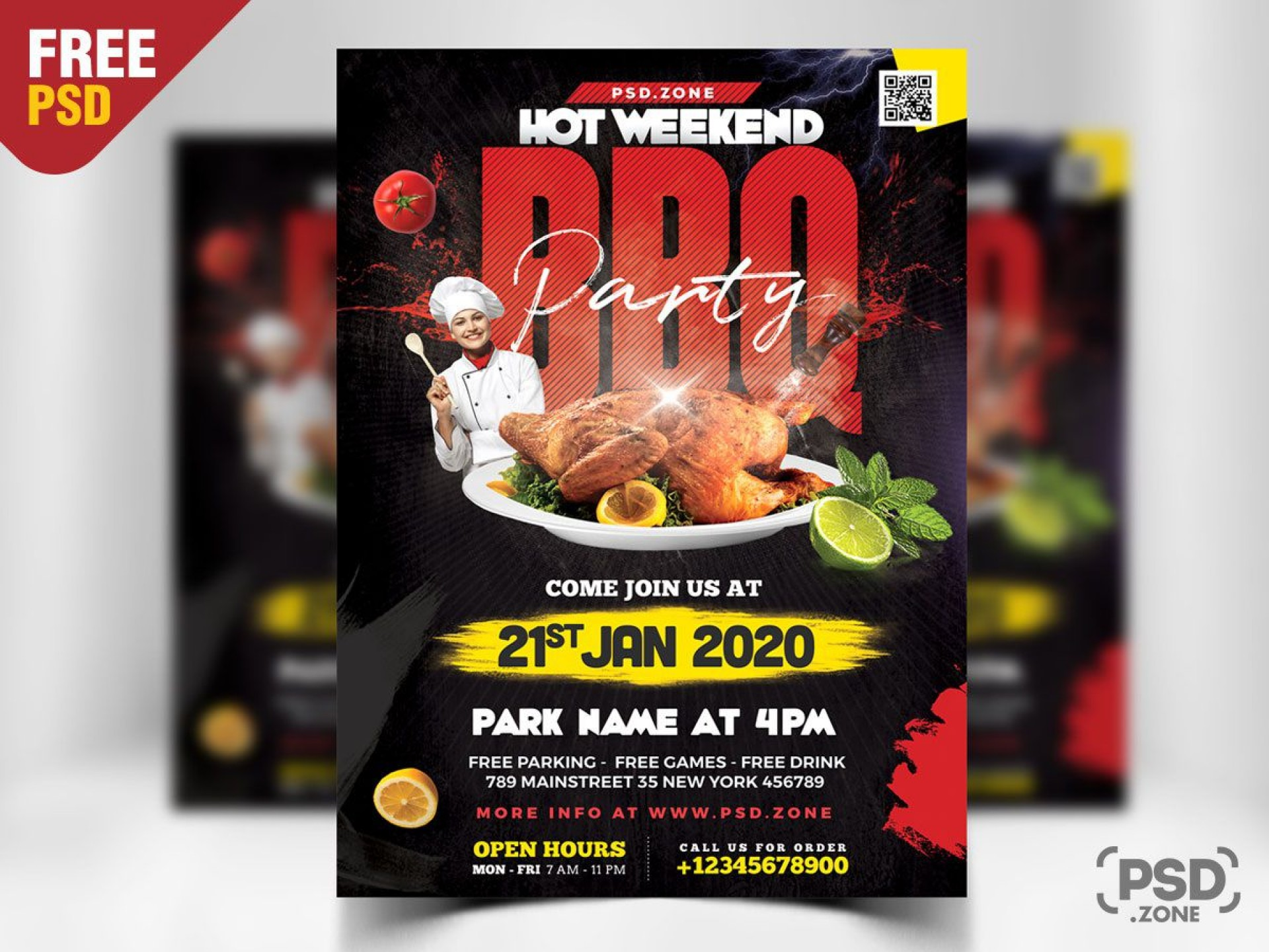 009 Unique Free Flyer Template Psd Concept  Christma Photoshop Birthday Download Restaurant1920