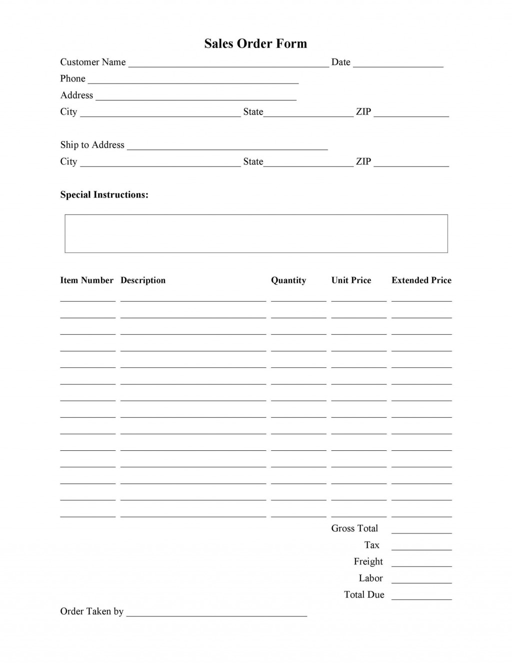 009 Unique Free Order Form Template Picture  Sale Excel PdfLarge