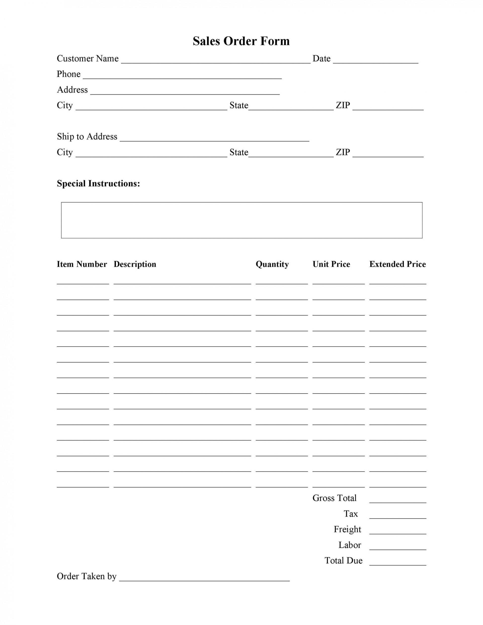 009 Unique Free Order Form Template Picture  Sale Excel Pdf1920