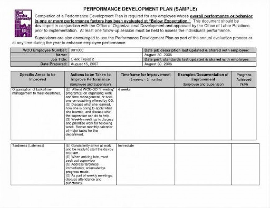009 Unique Personal Development Plan Template Excel Concept  Sample