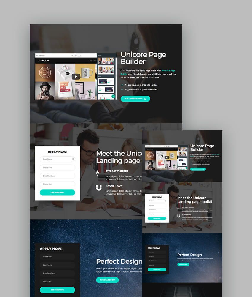 009 Unique Responsive Landing Page Template Design  Templates Html5 Free Download Wordpres HtmlFull