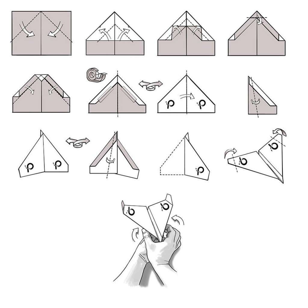 009 Unusual Printable Paper Airplane Folding Instruction High Resolution Large