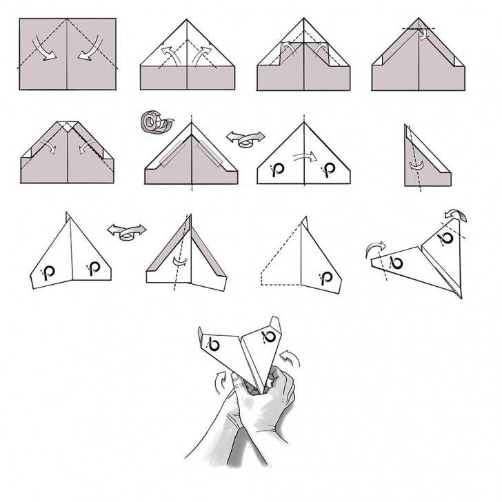 009 Unusual Printable Paper Airplane Folding Instruction High Resolution 728