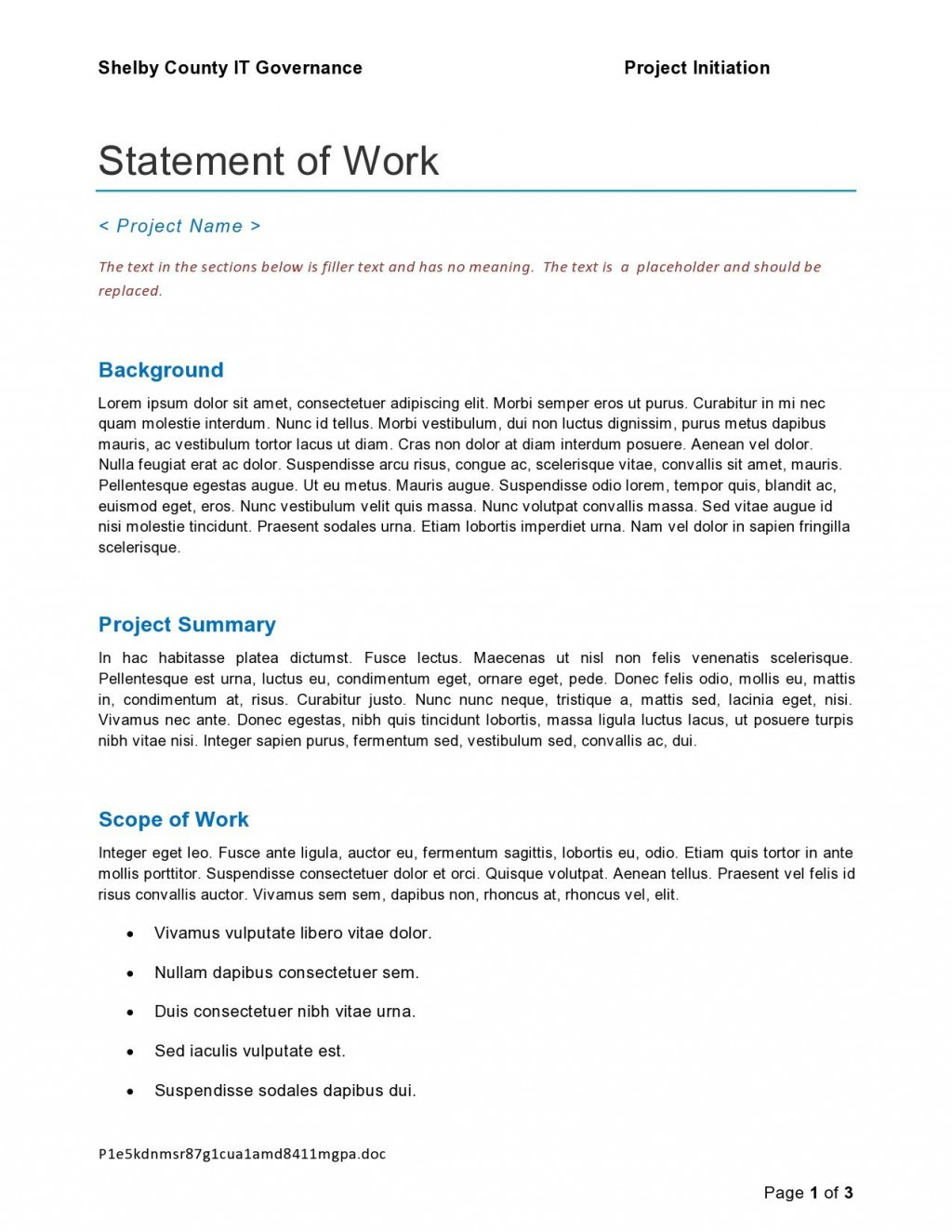 009 Unusual Project Statement Of Work Template Doc Picture Large