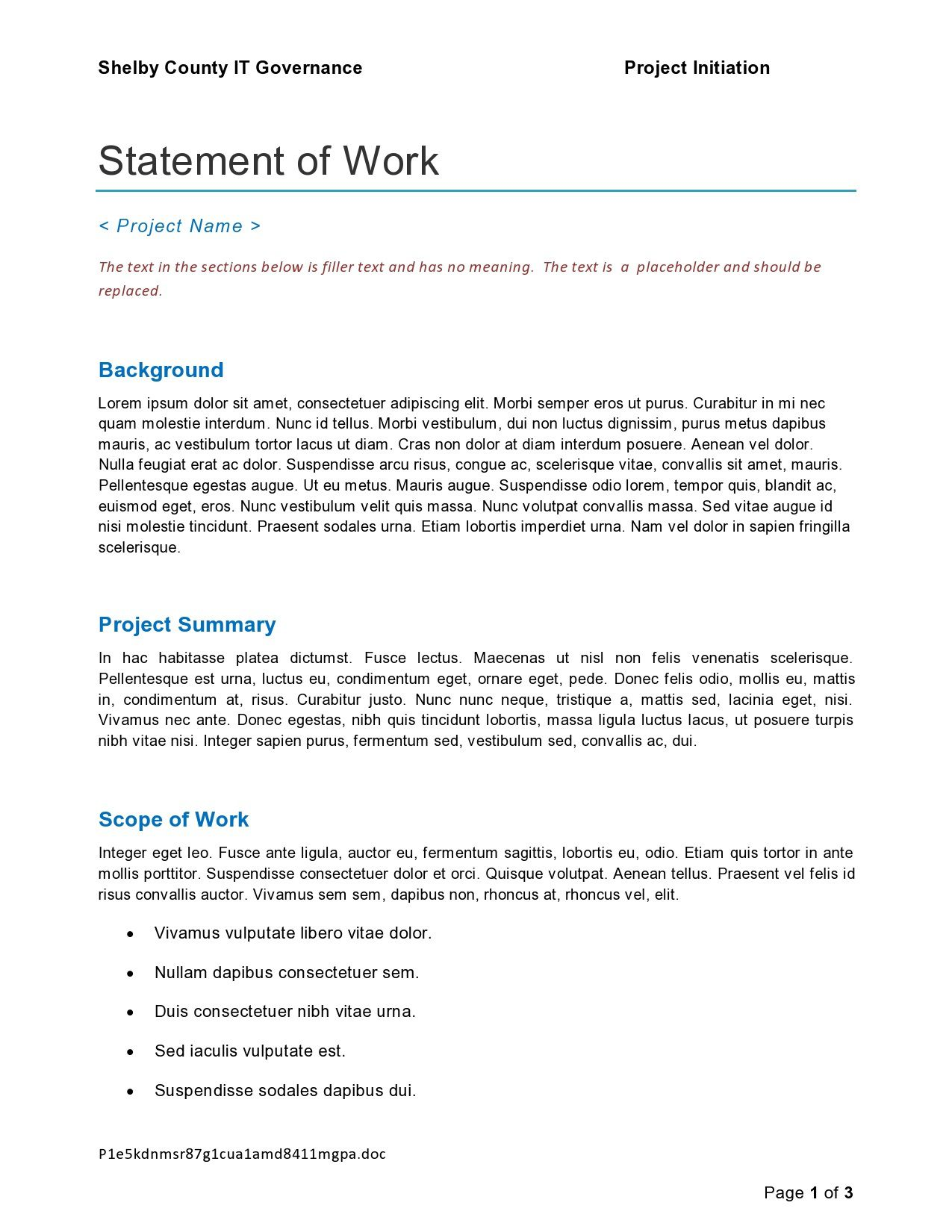 009 Unusual Project Statement Of Work Template Doc Picture Full