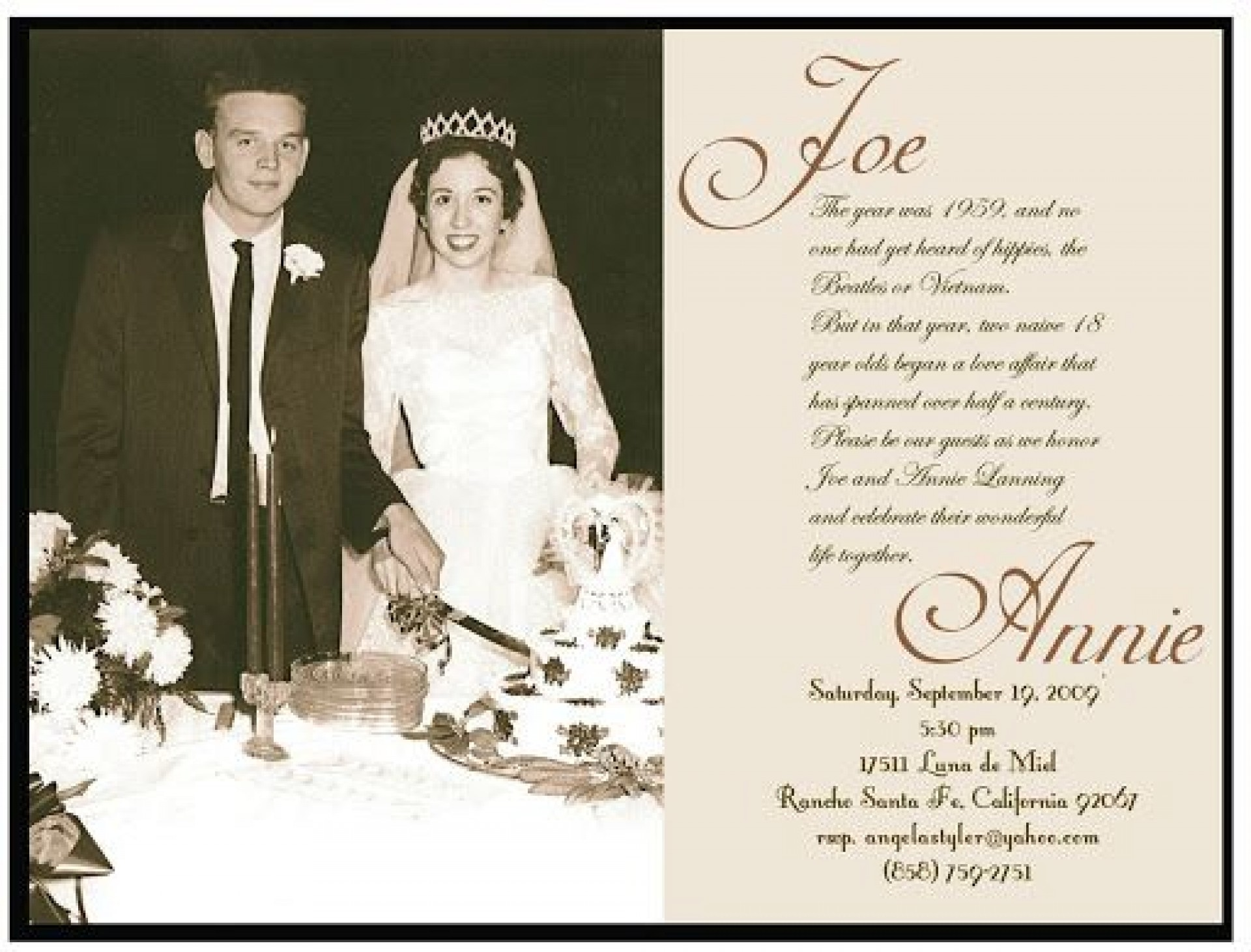 009 Wonderful 50th Wedding Anniversary Invitation Template Concept  Templates Golden Uk Free Download1920