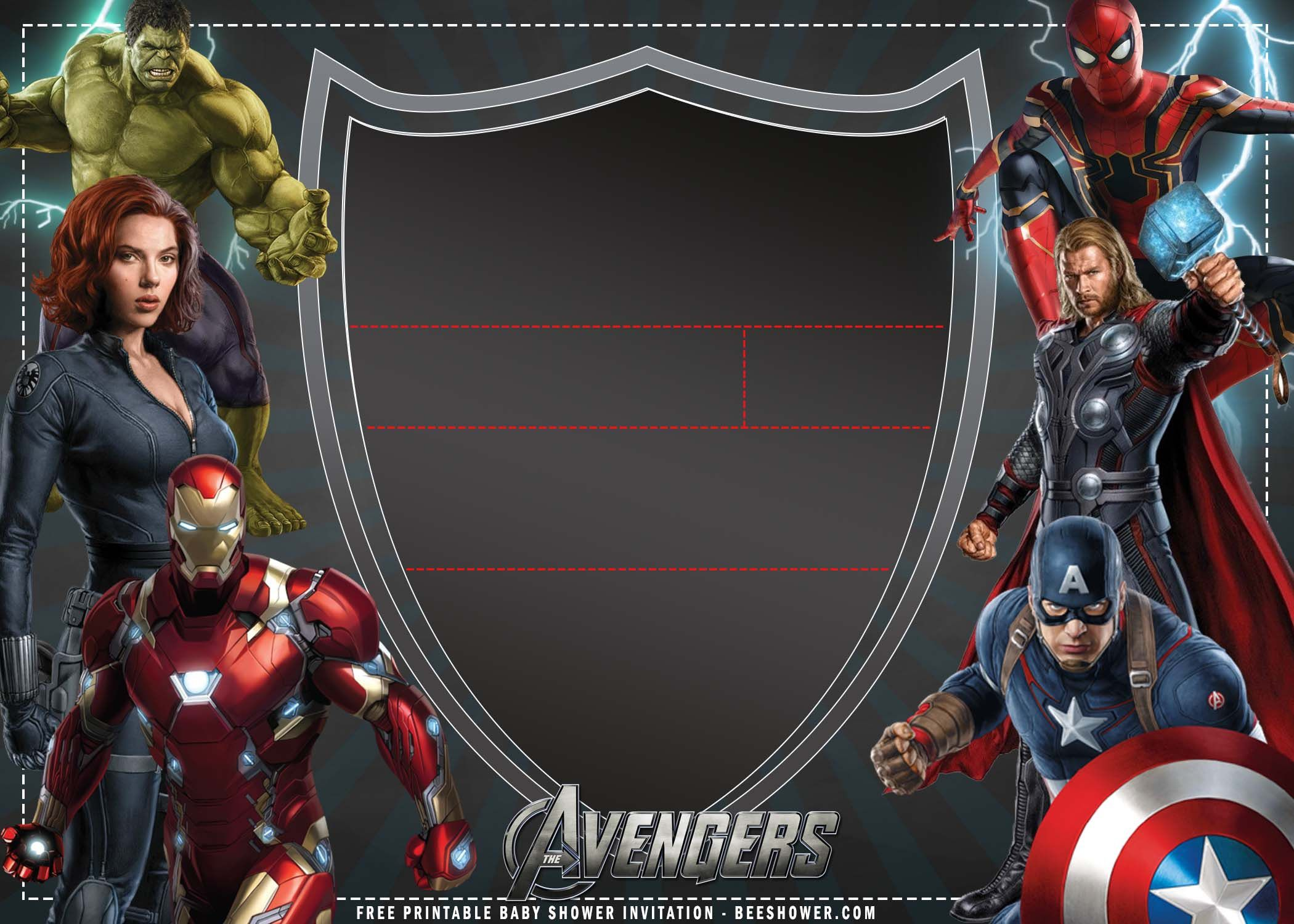 009 Wonderful Avenger Birthday Party Invitation Template Free High Definition  InviteFull