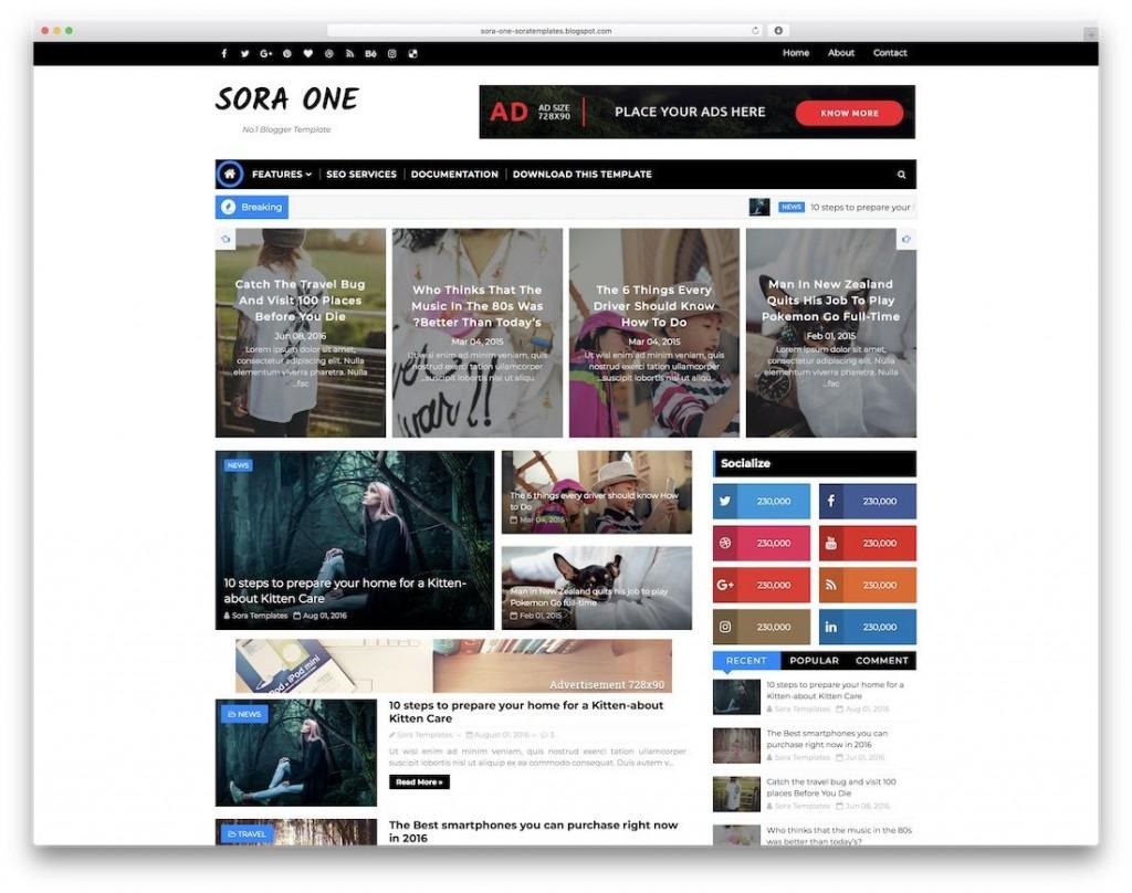 009 Wonderful Best Free Responsive Blogger Template 2019 Design Large