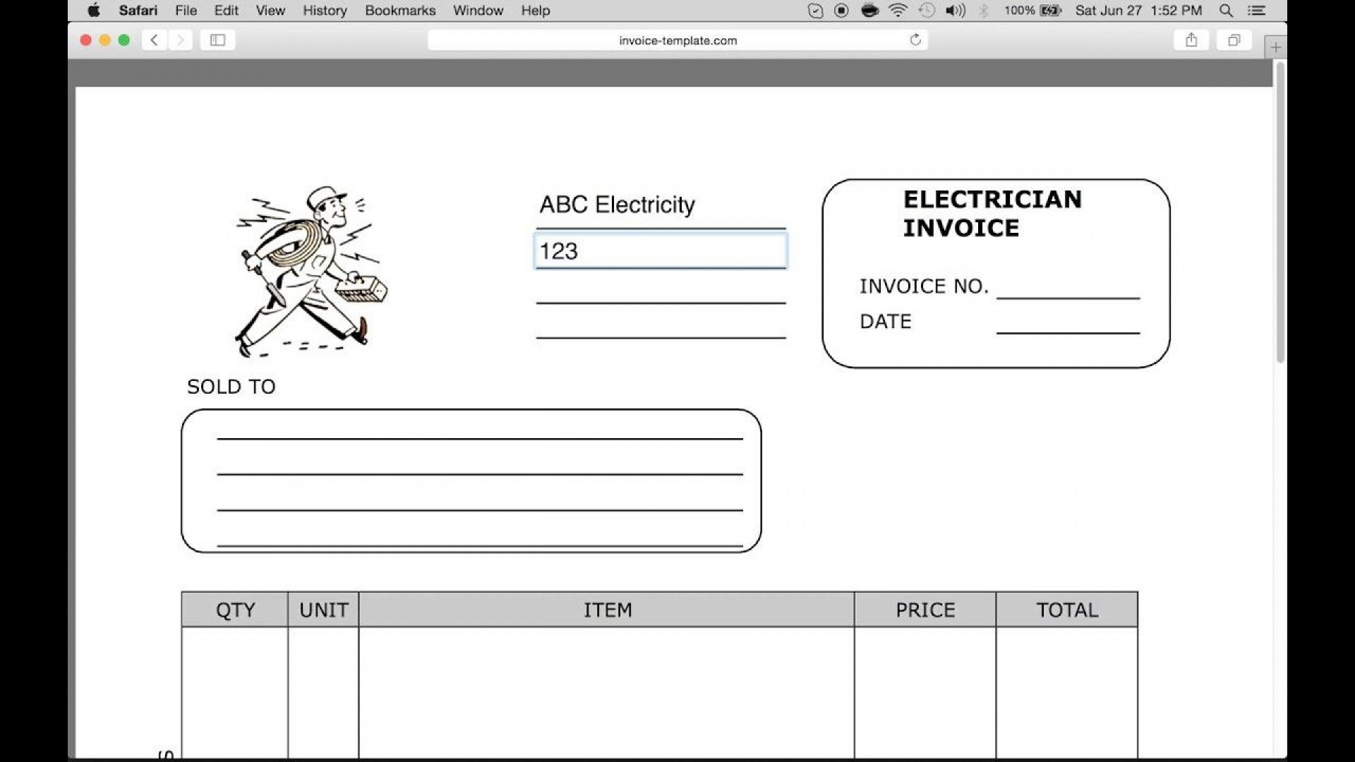 Electrician Invoice Template Free from www.addictionary.org