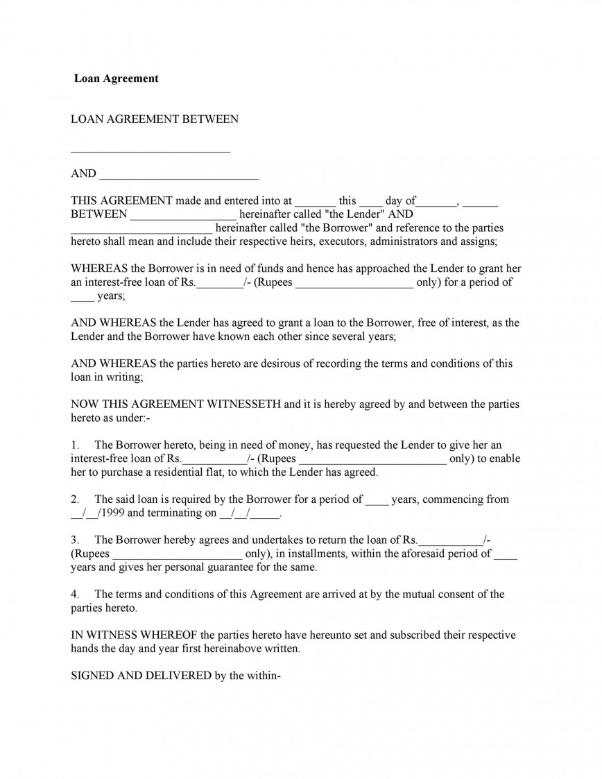 009 Wonderful Family Loan Agreement Template Canada High Def 868