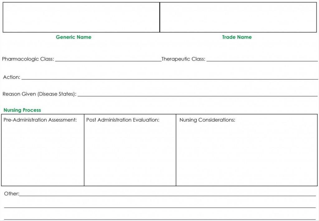 009 Wonderful Nursing Drug Card Template Concept  School Download PrintableLarge