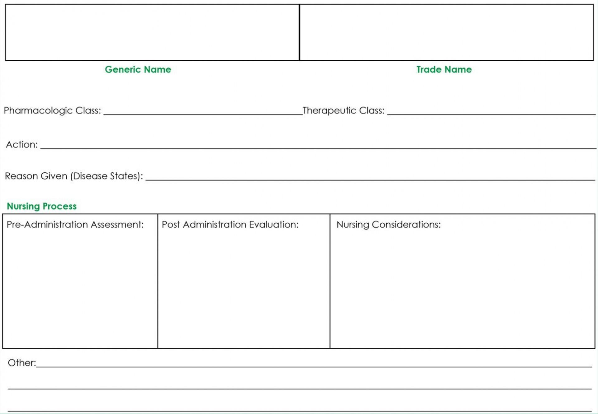 009 Wonderful Nursing Drug Card Template Concept  School Download Printable1920