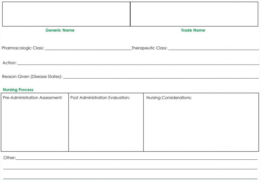 009 Wonderful Nursing Drug Card Template Concept  School Student Blank