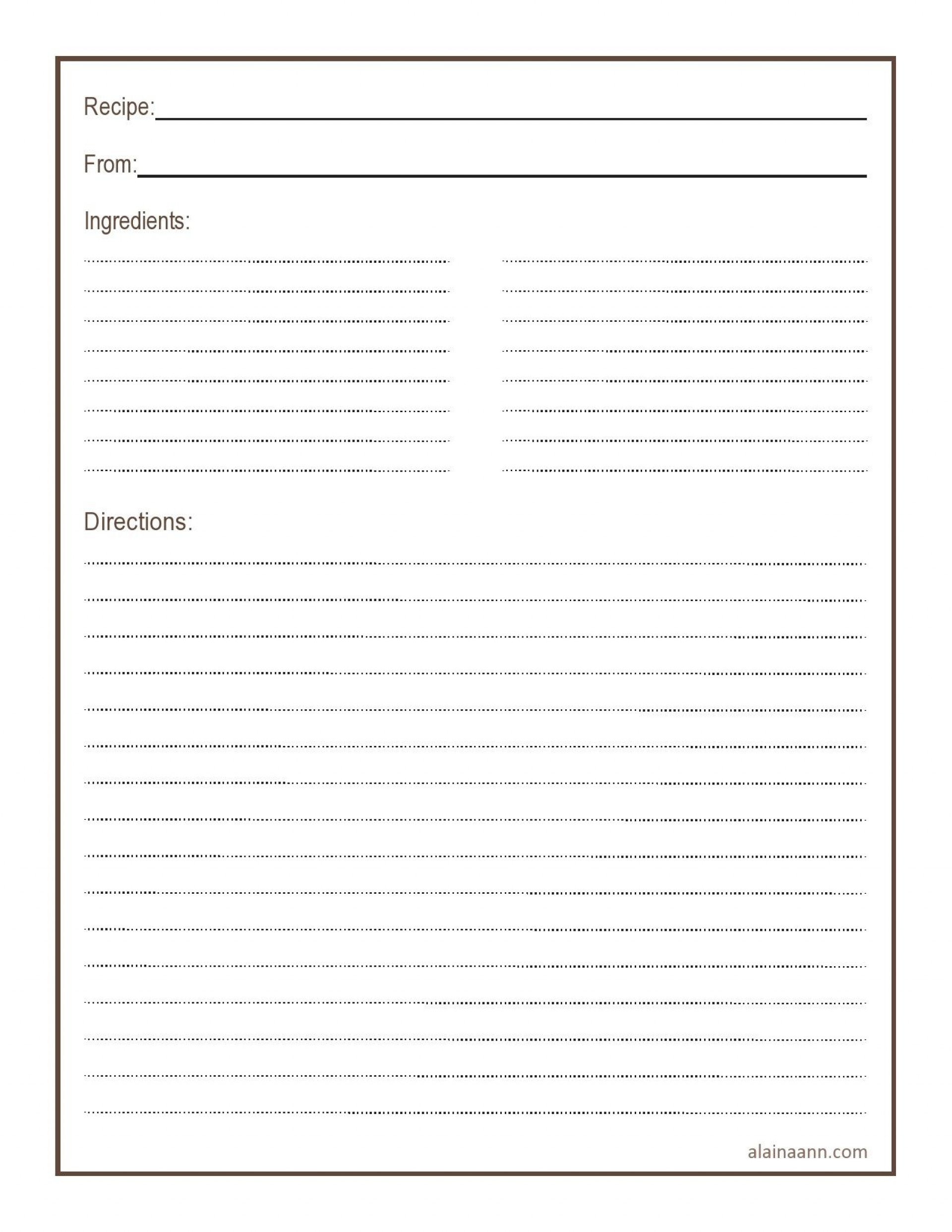 009 Wonderful Recipe Card Template For Word Example  Printable Blank Fillable1920