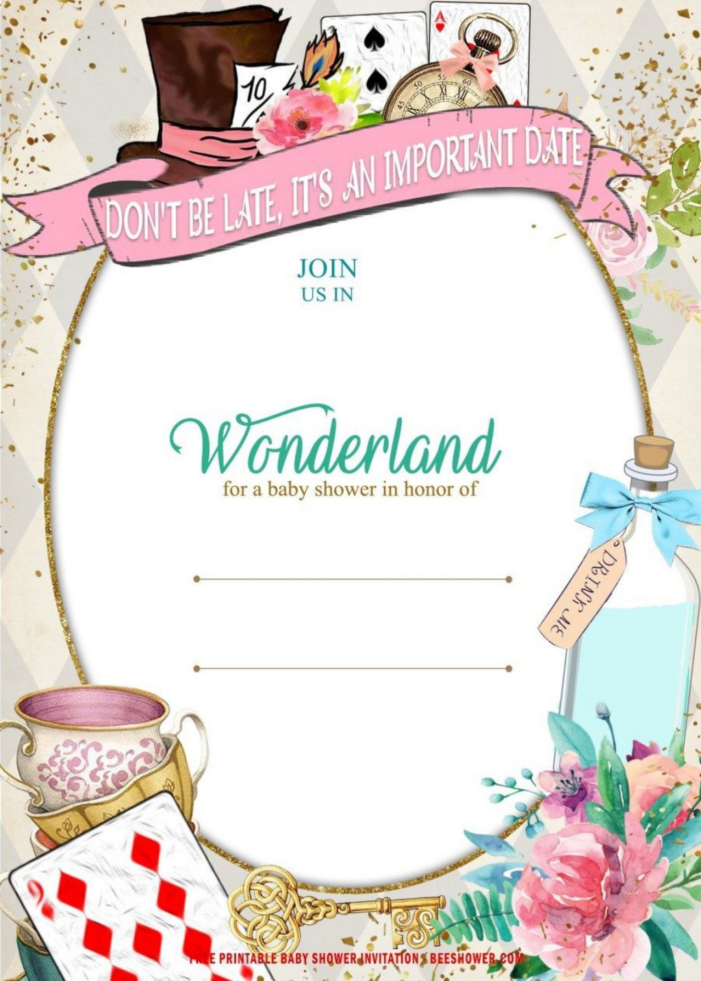 009 Wondrou Alice In Wonderland Tea Party Invitation Template Free Example Large