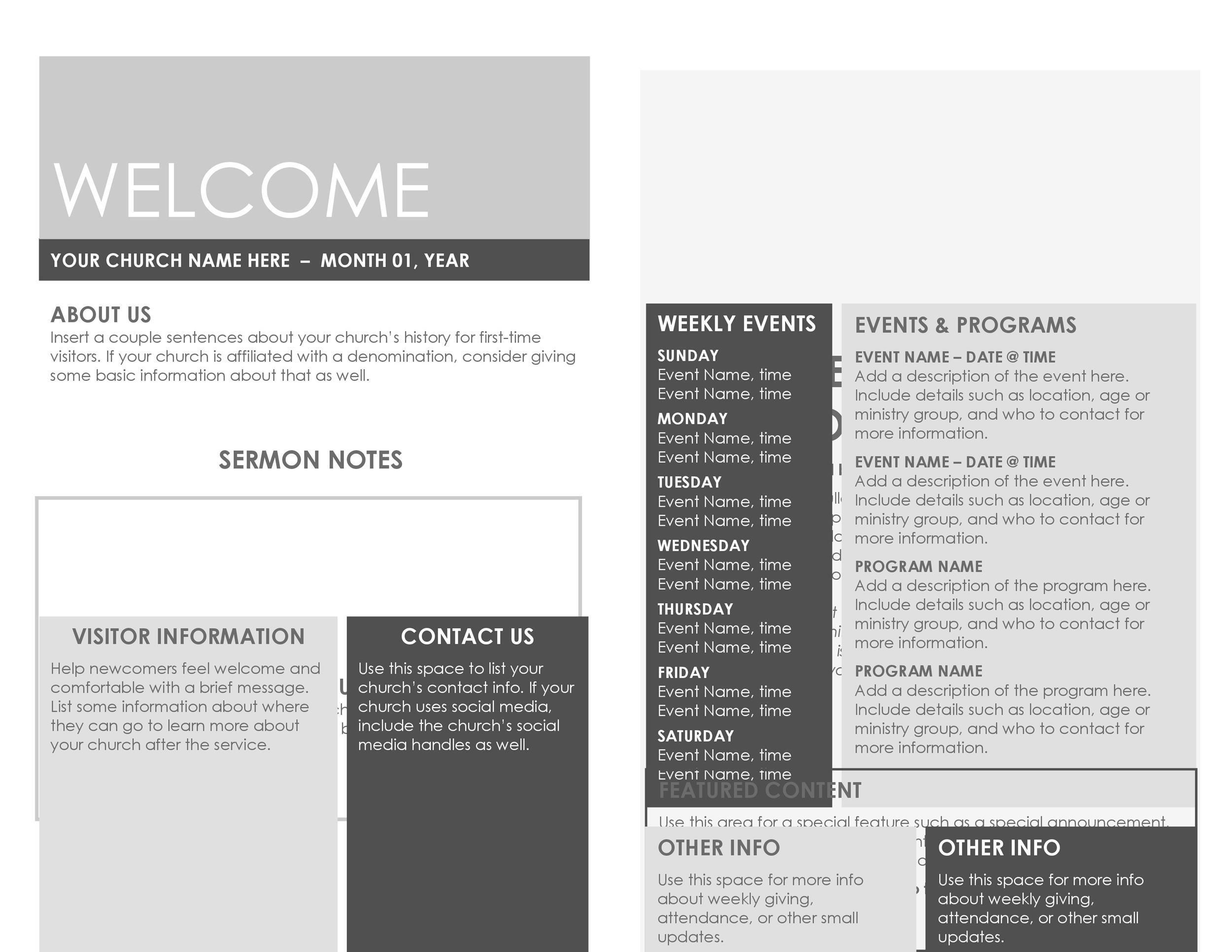 009 Wondrou Free Church Program Template Microsoft Publisher Picture Full
