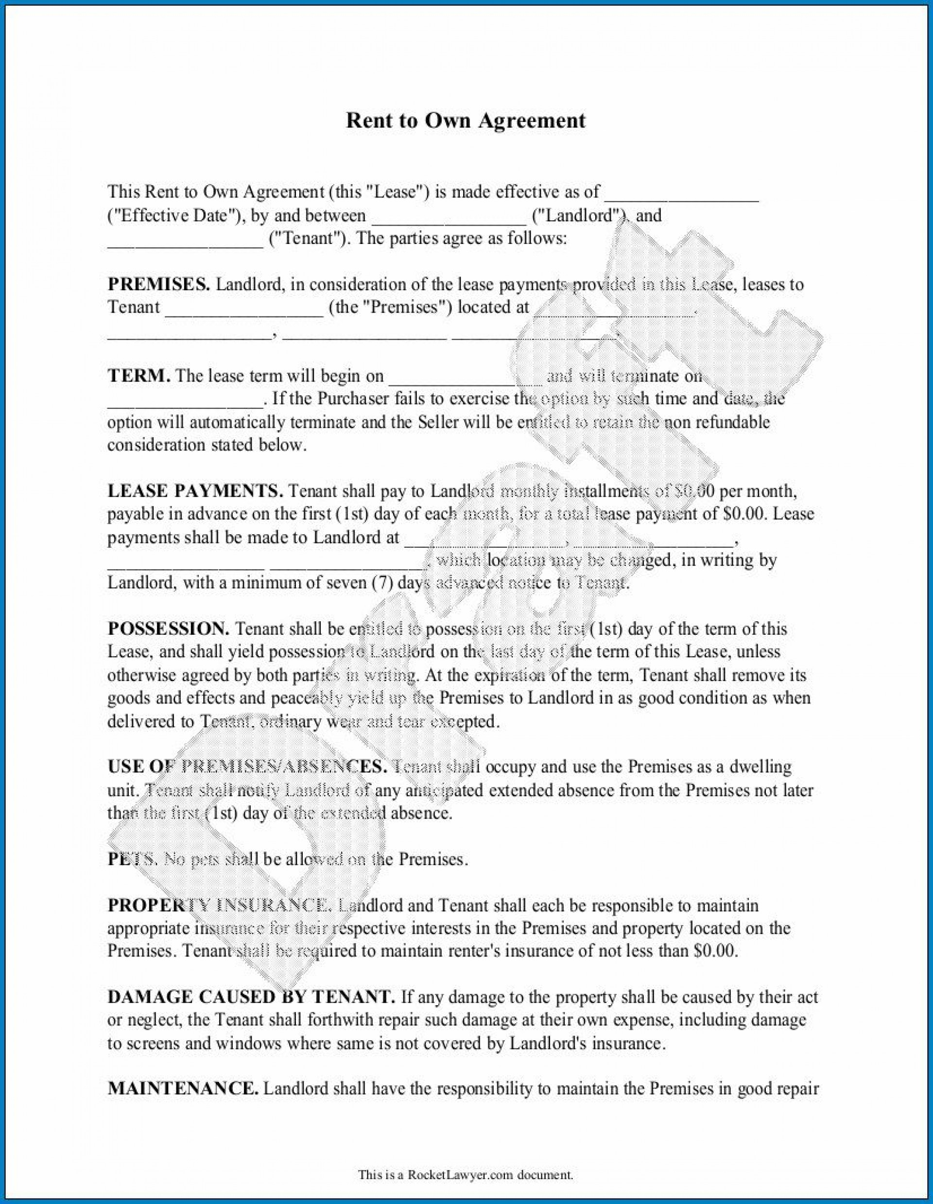 009 Wondrou Free Rent To Own Contract Form For House Photo  Houses Pdf1920
