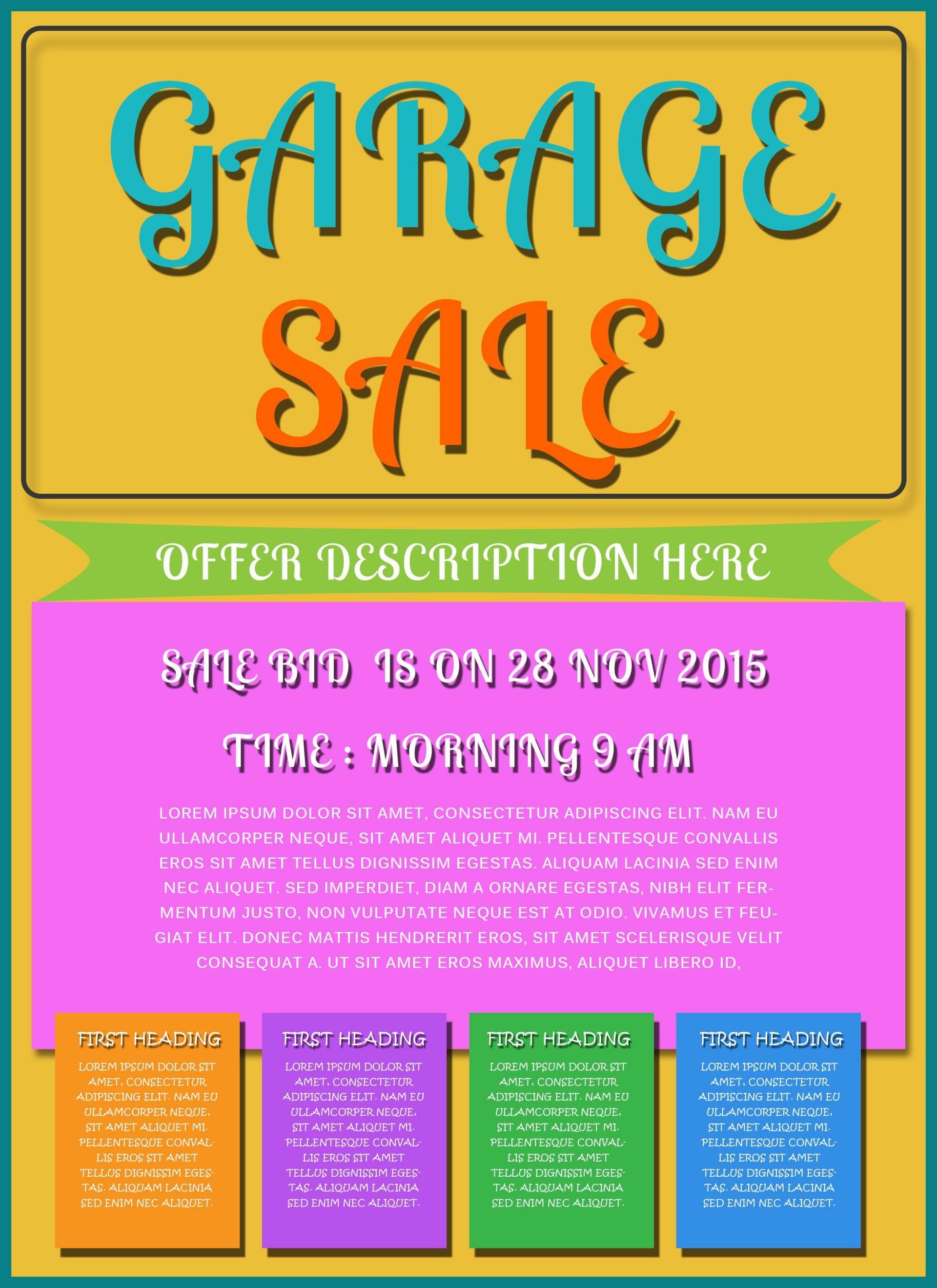 009 Wondrou Garage Sale Flyer Template Free Sample  Community Neighborhood Yard1920