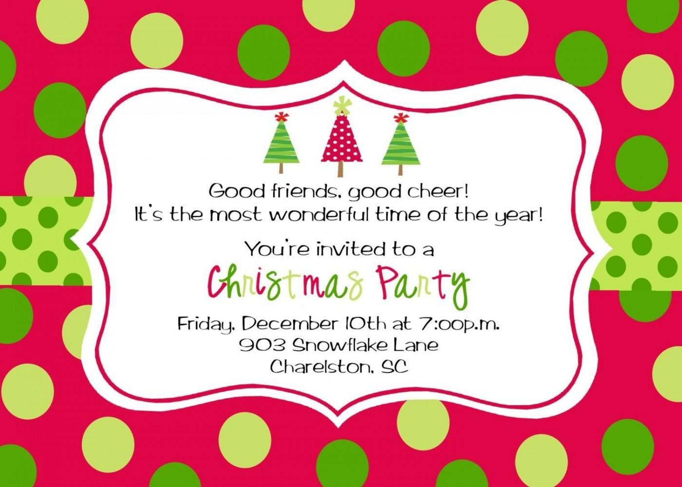 009 Wondrou Office Christma Party Invitation Wording Sample  Holiday Example1400