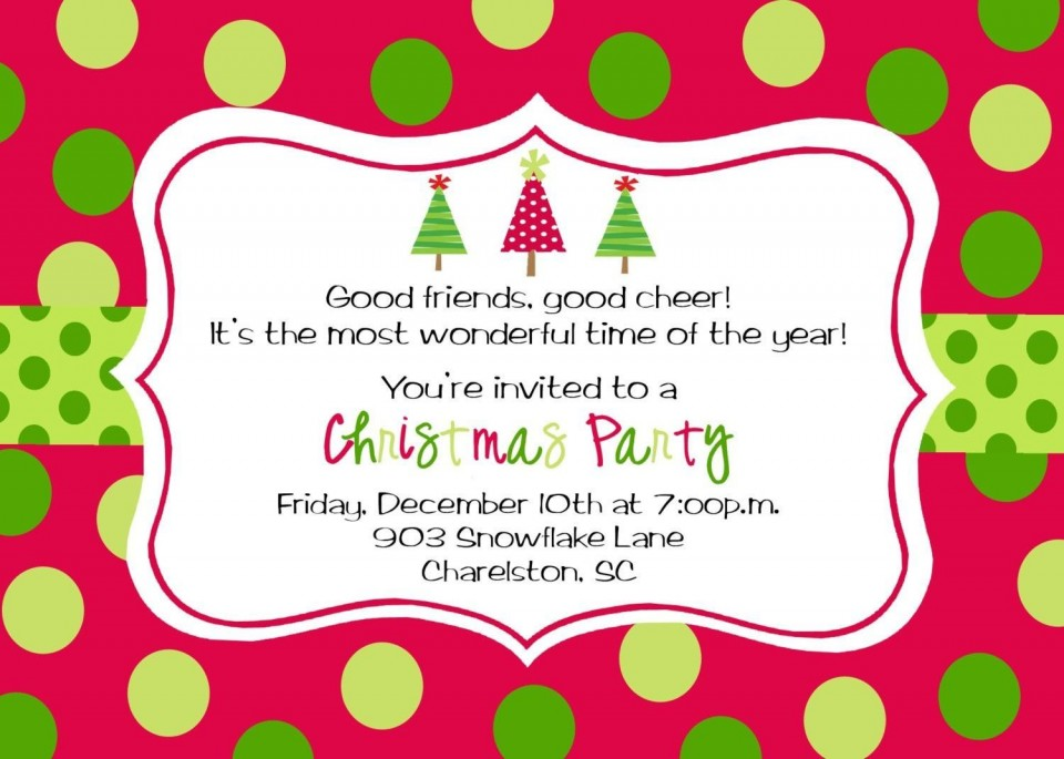 009 Wondrou Office Christma Party Invitation Wording Sample  Holiday Example960