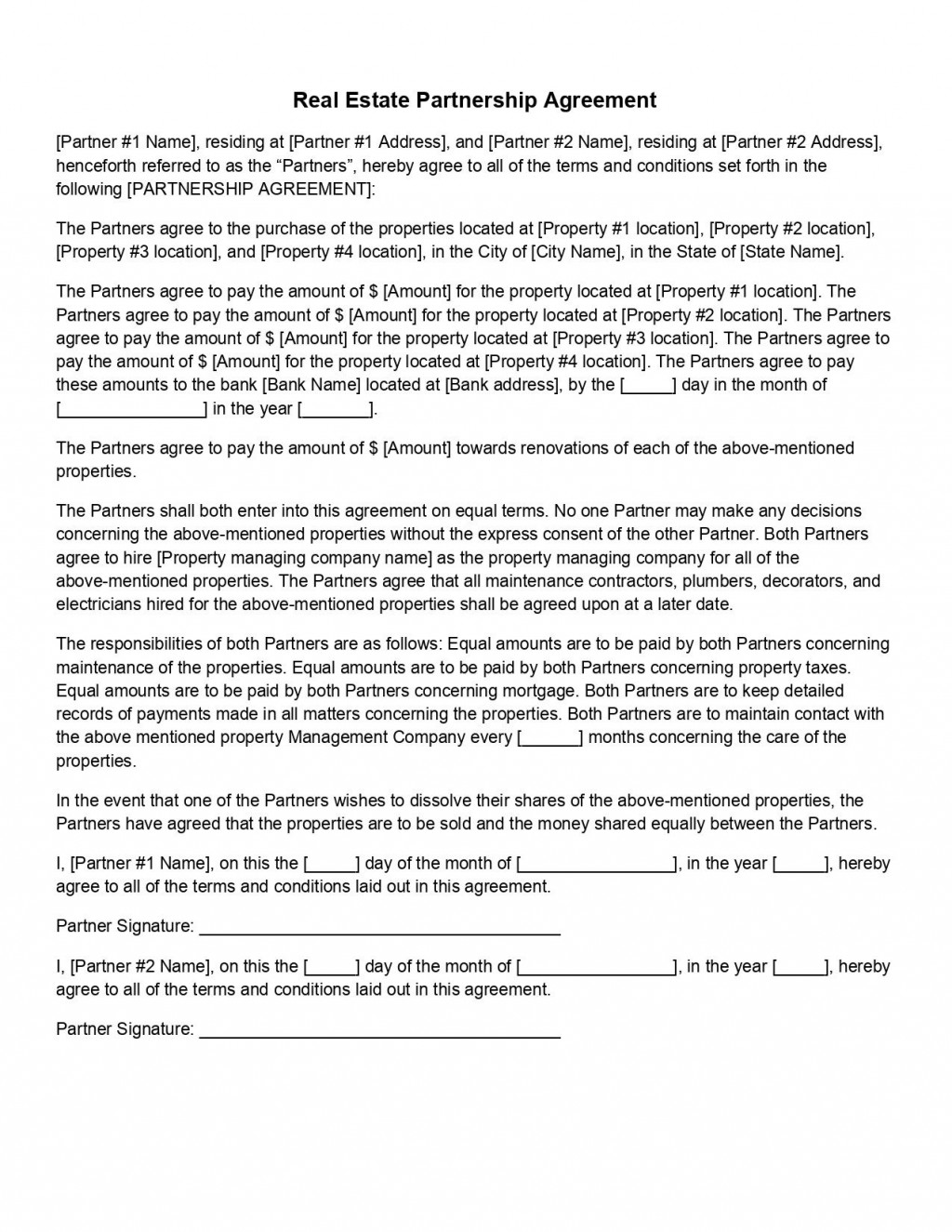 009 Wondrou Real Estate Partnership Agreement Template Picture  Team InvestmentLarge