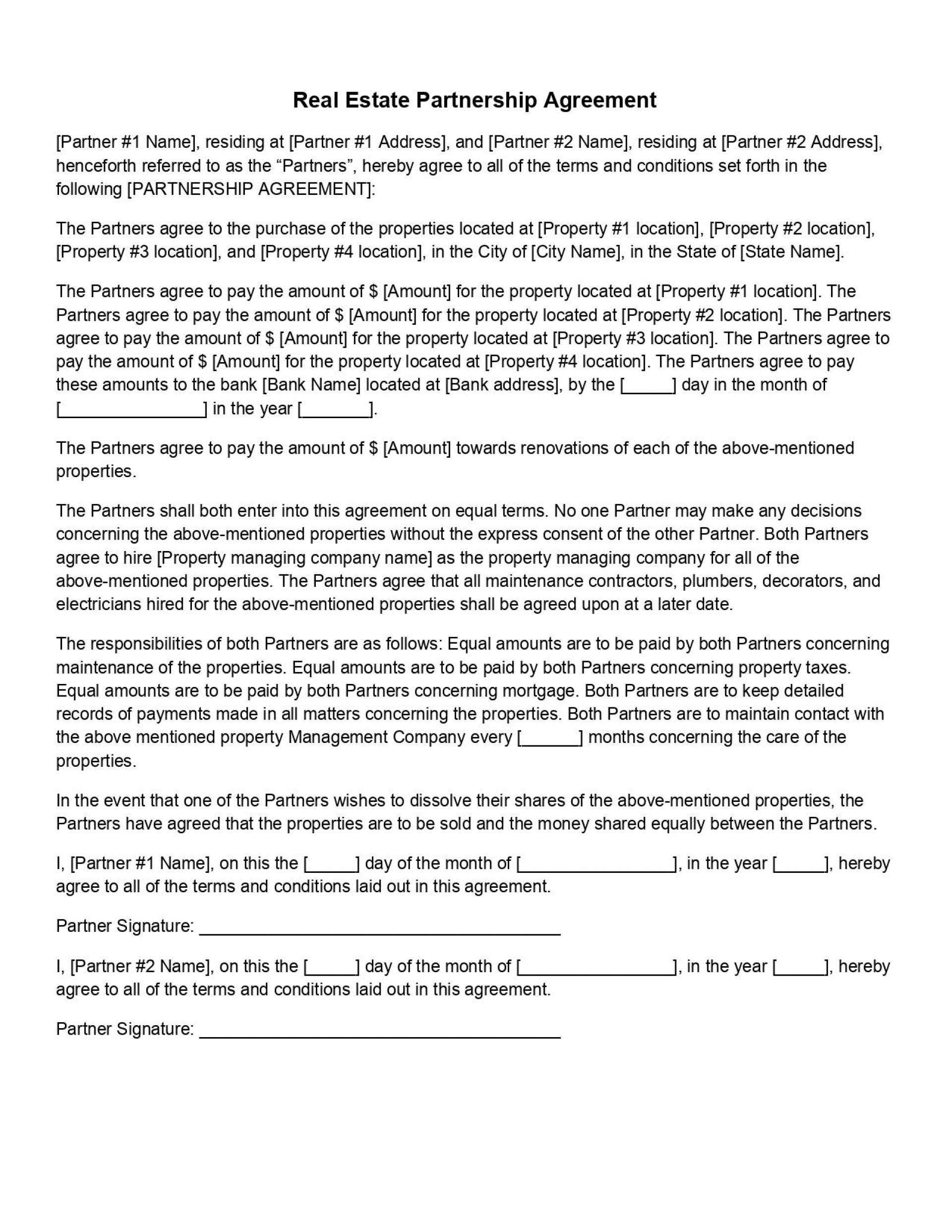 009 Wondrou Real Estate Partnership Agreement Template Picture  Team Investment1920