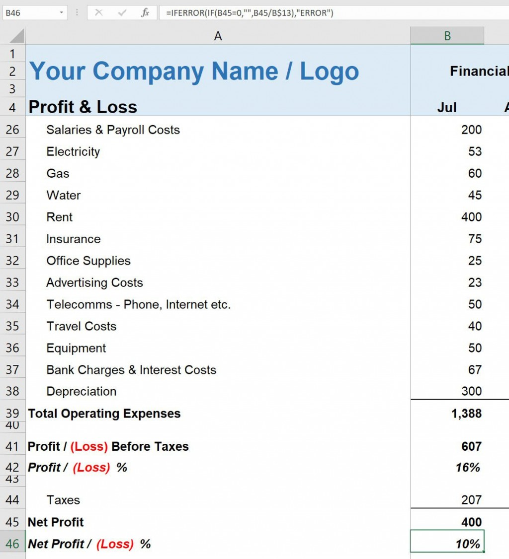 009 Wondrou Simple Profit And Los Statement Template For Self Employed Highest Quality  FreeLarge