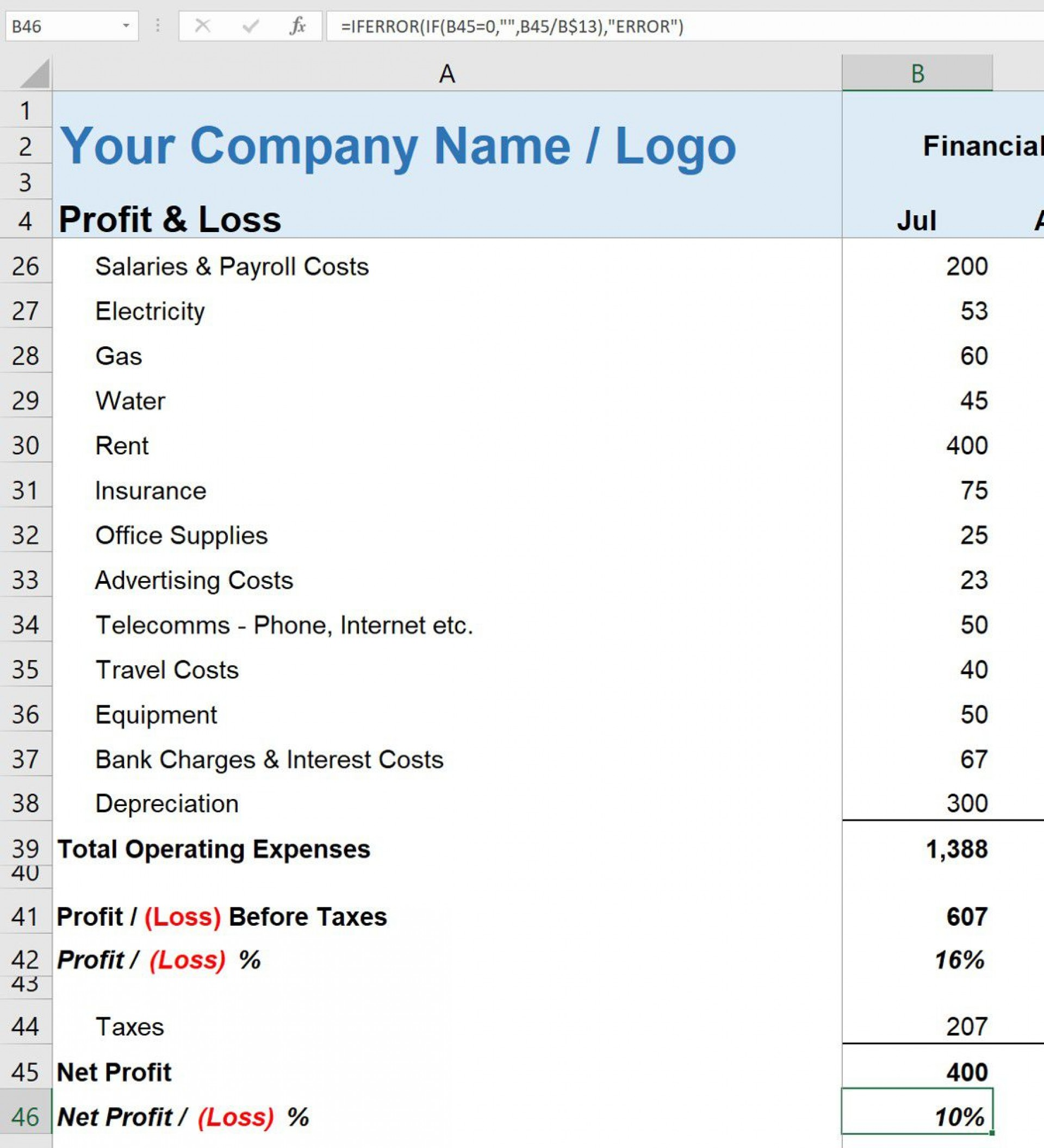 009 Wondrou Simple Profit And Los Statement Template For Self Employed Highest Quality  Free1920