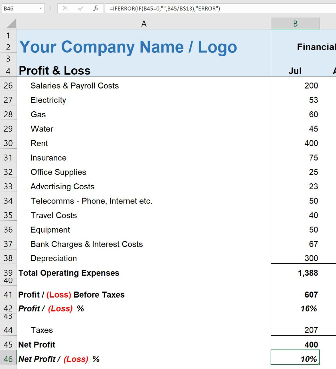 009 Wondrou Simple Profit And Los Statement Template For Self Employed Highest Quality  FreeFull